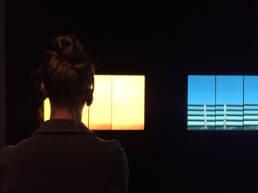un visitatore alla mostra presso Le stanze Trescore Balneario